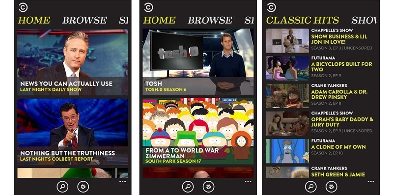 comedy central windows phone
