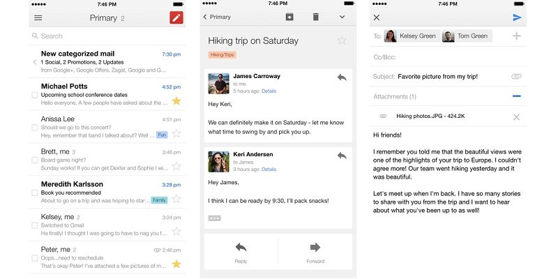 Gmail for iOS now makes use of the extra space on your iPhone 6/ 6Plus