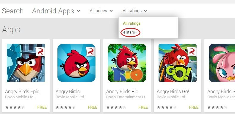 Google adds rating filter to searches in the Play Store