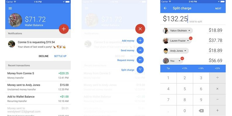 Google Wallet update on iOS allows to easily split the cost among friends